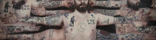 Dario Maglionico, Gio, 2012, olio su tela, 60x231cm