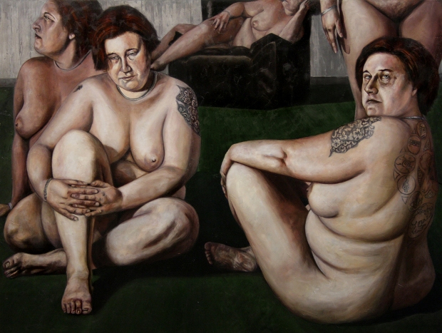 Dario Maglionico, Simona, 2012, olio su tela, 1250x165cm
